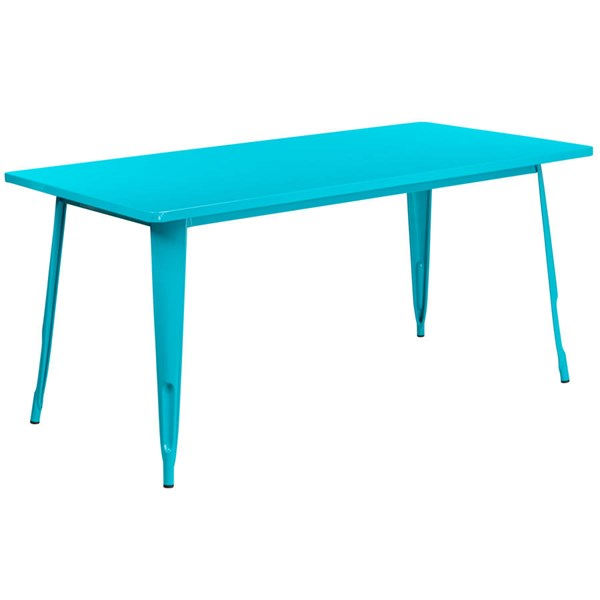 Flash Furniture Crystal Teal Blue Metal Rectangular Indoor Outdoor Table FLF-ET-CT005-CB-GG