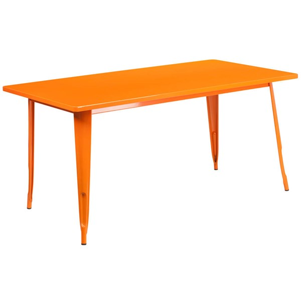 Flash Furniture Orange Metal Rectangular Indoor Outdoor Table FLF-ET-CT005-OR-GG