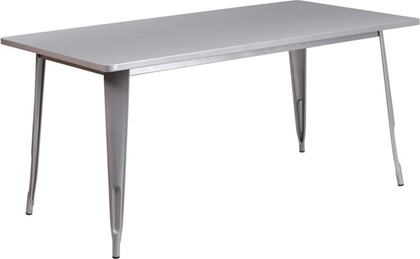 Flash Furniture Silver Metal Indoor Outdoor Dining Table FLF-ET-CT005-SIL-GG