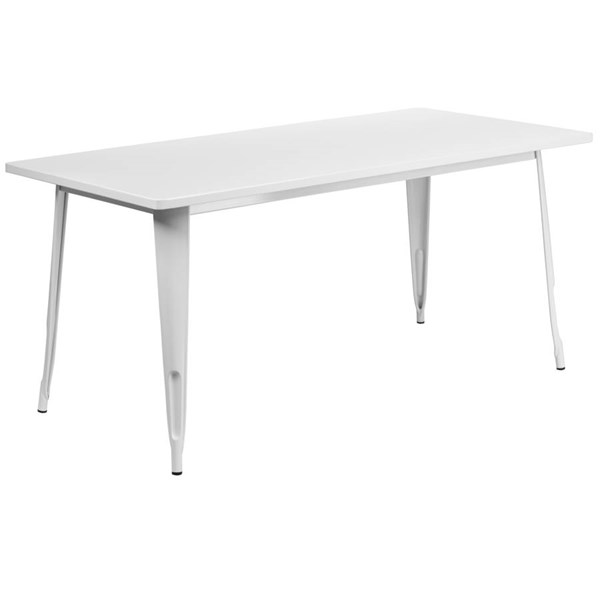 Flash Furniture White Metal Rectangular Indoor Outdoor Table FLF-ET-CT005-WH-GG