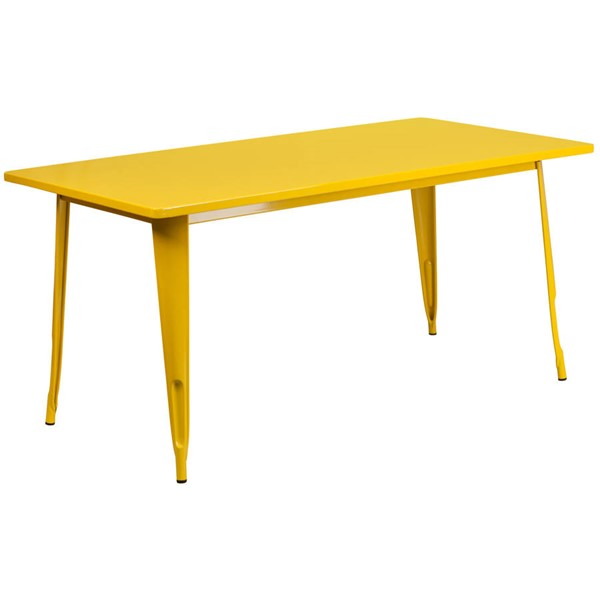 Flash Furniture Yellow Metal Rectangular Indoor Outdoor Table FLF-ET-CT005-YL-GG