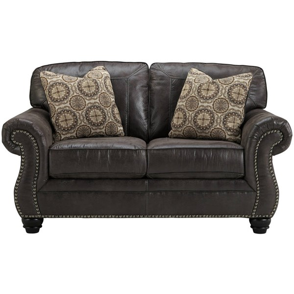 Flash Furniture Breville Charcoal Leather Loveseat FLF-FBC-8009LS-CH-GG