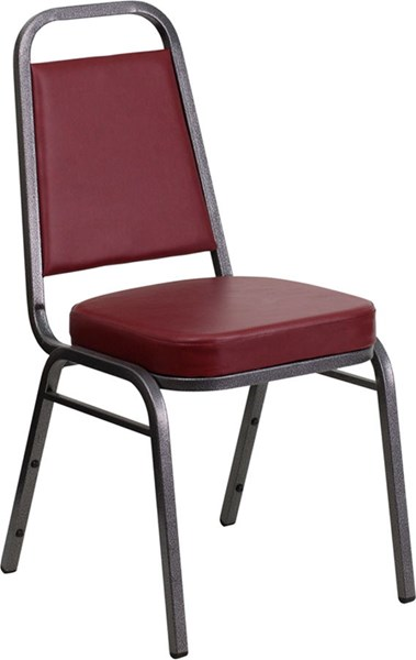 Trapezoidal Back Stacking Banquet Chair w/Burgundy Vinyl FLF-FD-BHF-1-SILVERVEIN-BY-GG