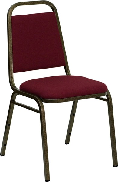 Trapezoidal Back Stacking Banquet Chair w/Burgundy Fabric FLF-FD-BHF-2-BY-GG