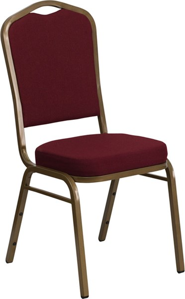 Crown Back Stacking Banquet Chair w/Burgundy Fabric FLF-FD-C01-ALLGOLD-3169-GG