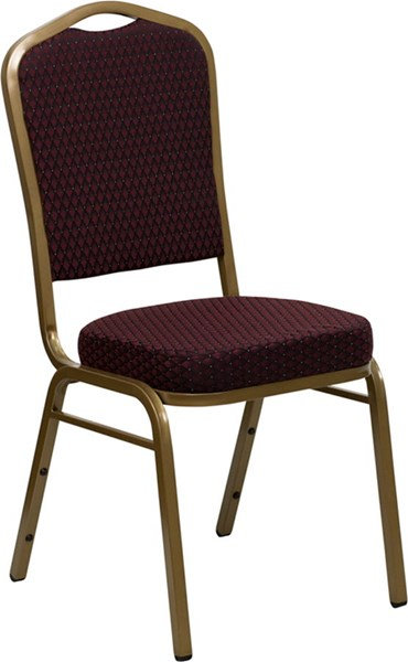 Crown Back Stacking Banquet Chair w/Burgundy Patterned Fabric FLF-FD-C01-ALLGOLD-EFE1679-GG