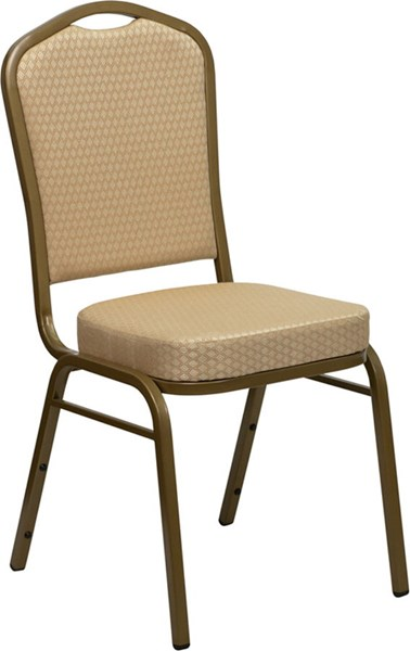 Crown Back Stacking Banquet Chair w/Beige Patterned Fabric FLF-FD-C01-ALLGOLD-H20124E-GG