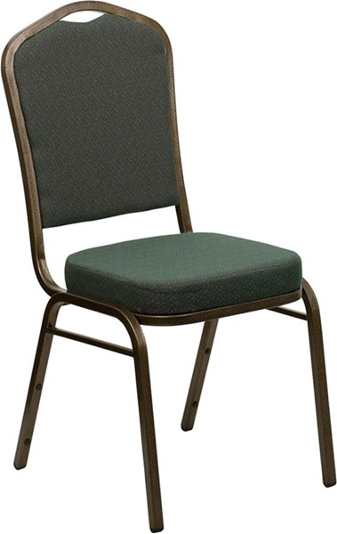 Crown Back Stacking Banquet Chair w/Green Patterned Fabric FLF-FD-C01-GOLDVEIN-0640-GG