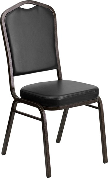 Flash Furniture Hercules Black Vinyl Crown Back Stacking Banquet Chair FLF-FD-C01-GOLDVEIN-BK-VY-GG