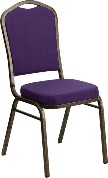 Crown Stacking Banquet Chair W/Purple Fabric & 2.5 Inch Thick Seat FLF-FD-C01-PUR-GV-GG