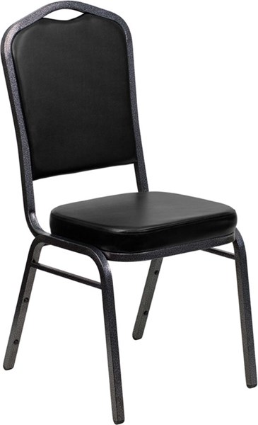 Crown Back Stacking Banquet Chair W/Black Vinyl & Solid Back FLF-FD-C01-SILVERVEIN-BK-VY-GG