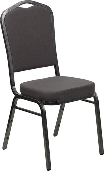 Crown Back Stacking Banquet Chair W/Gray Fabric & 2.5 Inch Thick Seat FLF-FD-C01-SILVERVEIN-GY-GG