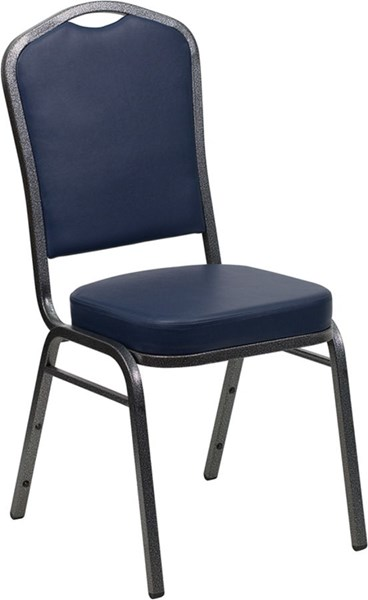 Crown Back Stacking Banquet Chair W/Navy Vinyl & 2.5 Inch Thick Seat FLF-FD-C01-SILVERVEIN-NY-VY-GG