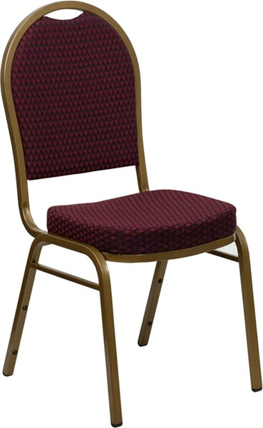 Dome Back Stacking Banquet Chair w/Burgundy Patterned Fabric FLF-FD-C03-ALLGOLD-EFE1679-GG