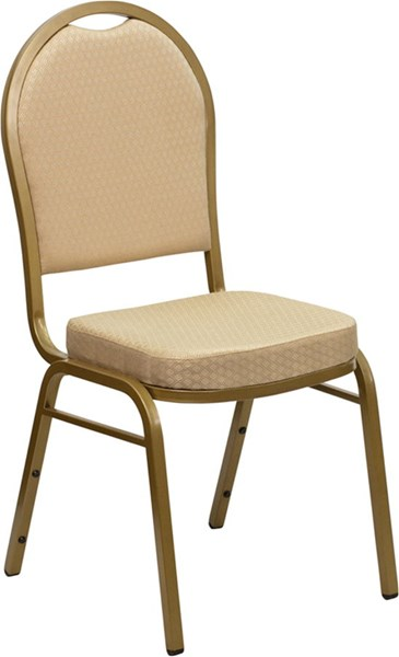 Dome Back Stacking Banquet Gold Frame Chair W/Beige Patterned Fabric FLF-FD-C03-ALLGOLD-H20124E-GG
