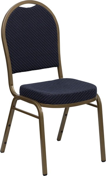 Dome Back Stacking Banquet Chair w/Navy Patterned Fabric FLF-FD-C03-ALLGOLD-H203774-GG