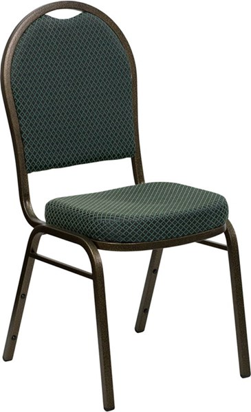 Dome Back Stacking Banquet Chair w/Green Patterned Fabric FLF-FD-C03-GOLDVEIN-4003-GG