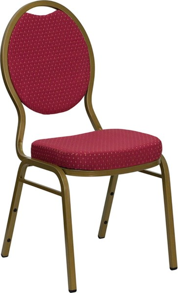 Flash Furniture Hercules Burgundy Patterned Fabric Teardrop Back Stacking Banquet Chair FLF-FD-C04-ALLGOLD-2804-GG