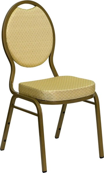 Teardrop Back Stacking Banquet Chair w/Beige Patterned Fabric FLF-FD-C04-ALLGOLD-2811-GG