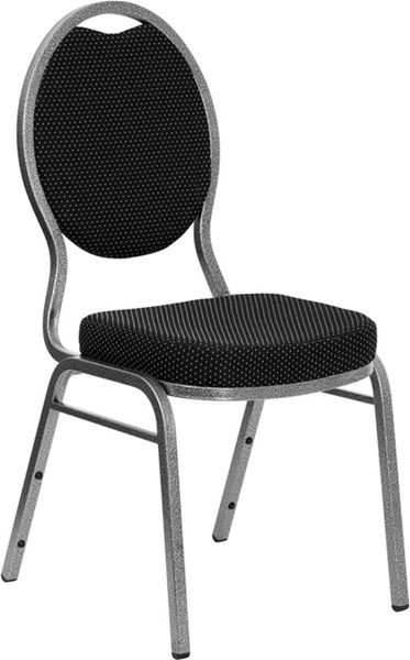 Teardrop Back Stacking Banquet Chair w/Black Patterned Fabric FLF-FD-C04-SILVERVEIN-S076-GG