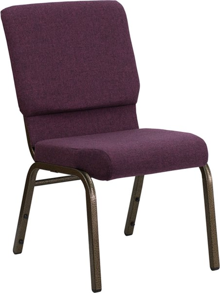 18.5 Inch Wide Plum Stacking Church Chair W/4.25 Inch Thick Seat FLF-FD-CH02185-GV-005-GG