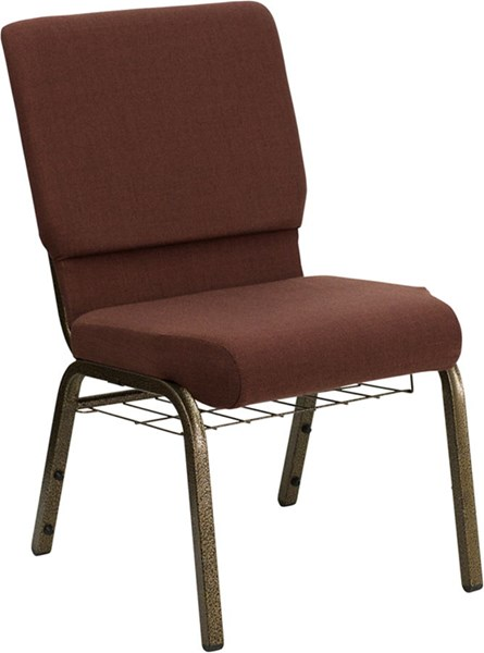 Flash Furniture Hercules 18.5 Inch Wide Brown Fabric Church Chair FLF-FD-CH02185-GV-10355-BAS-GG