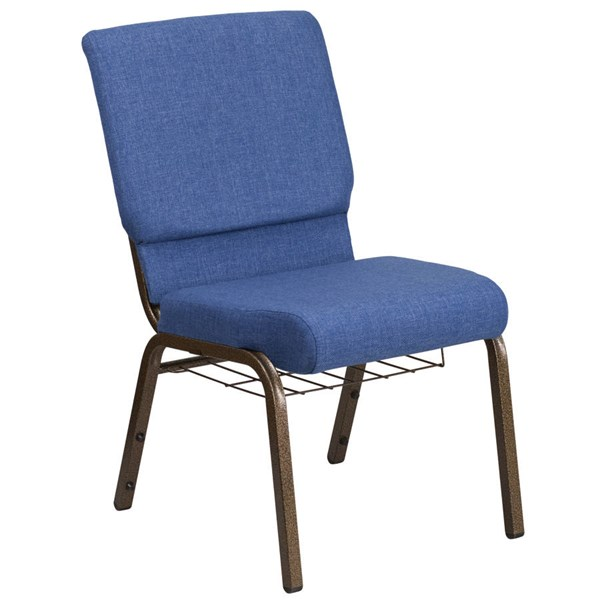 Flash Furniture Hercules Blue Church Chair with Cup Book Rack FLF-FD-CH02185-GV-BLUE-BAS-GG