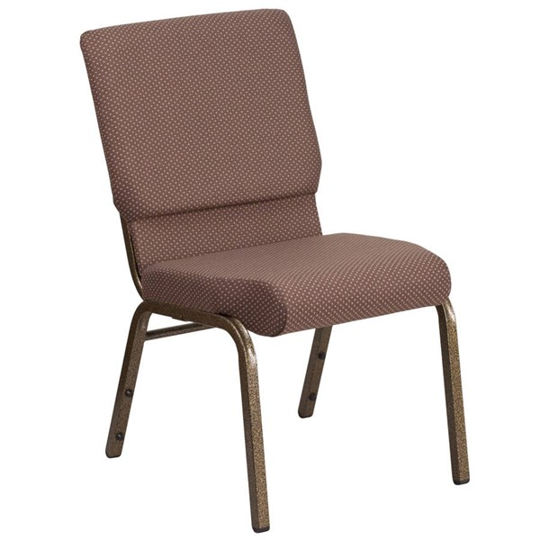 Flash Furniture Hercules Brown Dot Fabric and Gold Vein Frame Stacking Church Chair FLF-FD-CH02185-GV-BNDOT-GG