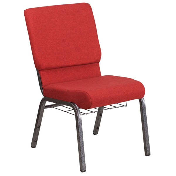 Flash Furniture Hercules Red Silver Vein Frame Church Chair with Cup Book Rack FLF-FD-CH02185-SV-RED-BAS-GG