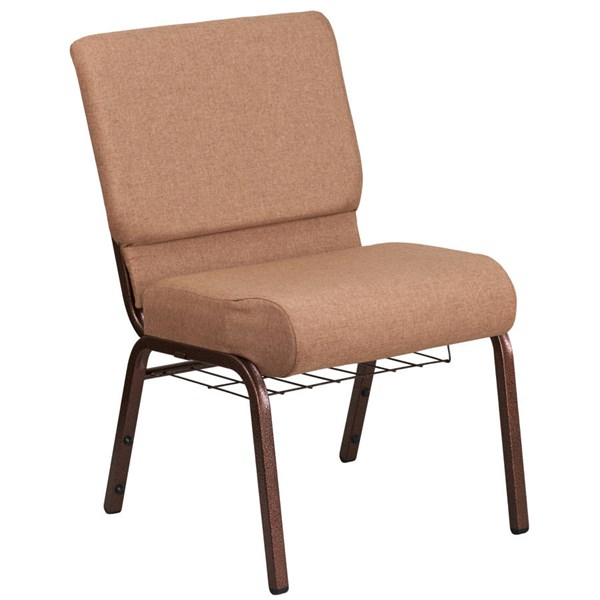 Flash Furniture Hercules Caramel Copper Vein Frame Church Chair with Cup Book Rack FLF-FD-CH0221-4-CV-BN-BAS-GG