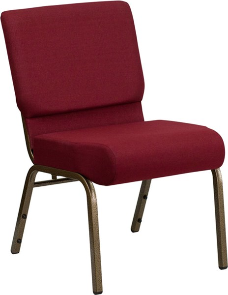 Flash Furniture Hercules 21 Inch Extra Wide Burgundy Goldvein Fabric Stacking Church Chair FLF-FD-CH0221-4-GV-3169-GG
