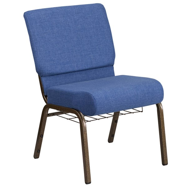 Flash Furniture Hercules Blue Gold Vein Frame Church Chair with Cup Book Rack FLF-FD-CH0221-4-GV-BLUE-BAS-GG