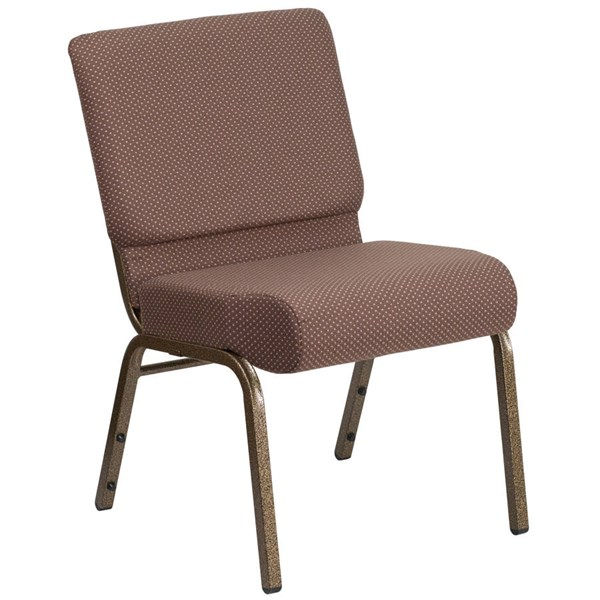 Flash Furniture Hercules Brown Dot Gold Vein Frame Stacking Church Chair FLF-FD-CH0221-4-GV-BNDOT-GG
