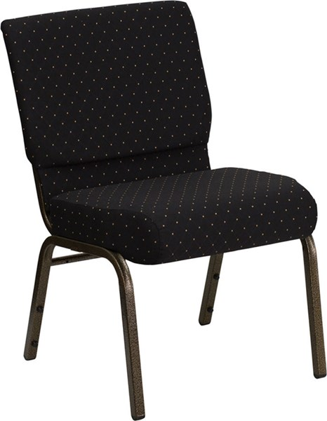 Black Dot Patterned Fabric Stacking Church Chair W/4 Inch Thick Seat FLF-FD-CH0221-4-GV-S0806-GG