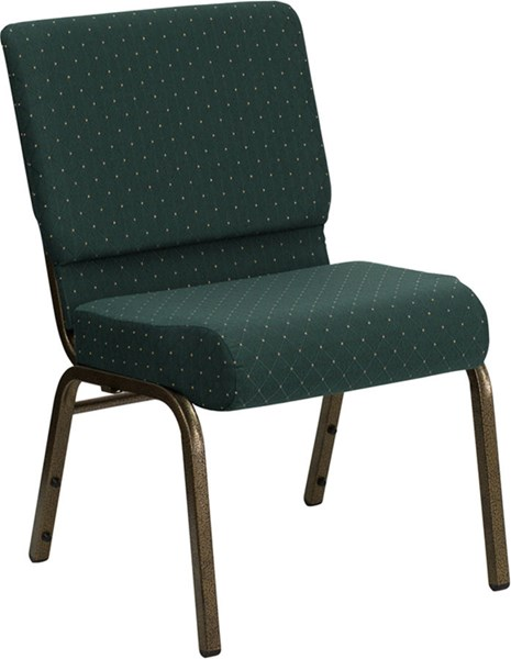 Flash Furniture Hercules 21 Inch Extra Wide Hunter Green Dot Fabric Stacking Church Chair FLF-FD-CH0221-4-GV-S0808-GG