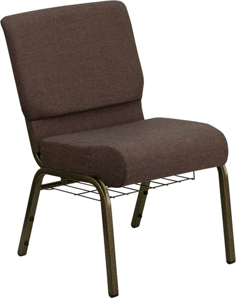 21 Inch Extra Wide Brown Fabric Church Chair W/4 Inch Thick Seat FLF-FD-CH0221-4-GV-S0819-BAS-GG