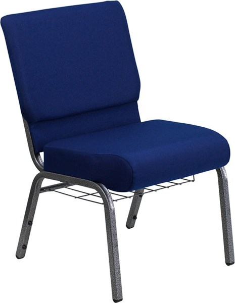 Flash Furniture Hercules 21 Inch Extra Wide Navy Blue Fabric Church Chair FLF-FD-CH0221-4-SV-NB24-BAS-GG