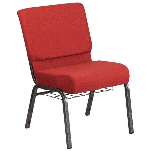 Flash Furniture Hercules Crimson Fabric Silver Vein Frame Church Chair with Cup Book Rack FLF-FD-CH0221-4-SV-RED-BAS-GG