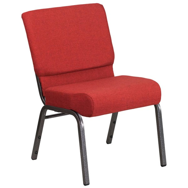 Flash Furniture Hercules Crimson Foot Cap and Silver Vein Frame Church Chair FLF-FD-CH0221-4-SV-RED-GG