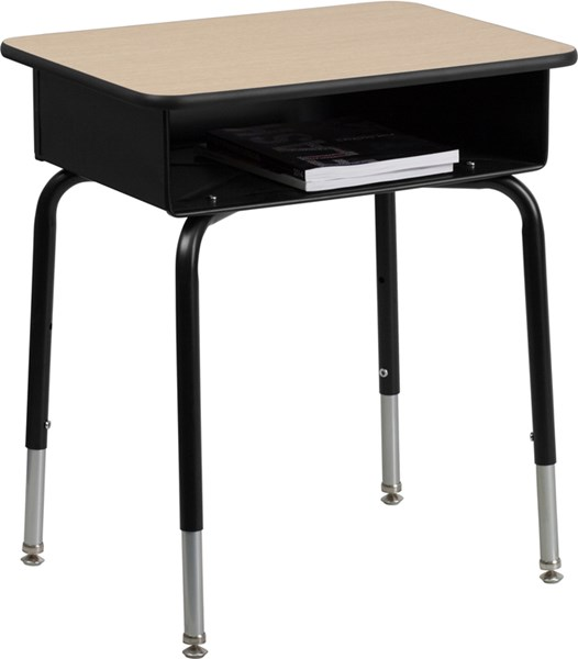 Flash Furniture Black Natural Student Desk with Open Front Metal Book Box FLF-FD-DESK-GG