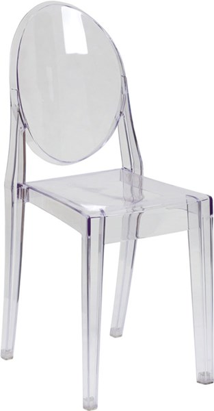 Clear Plastic Polycarbonate Ghost Side Chair In Transparent Crystal FLF-FH-111-APC-CLR-GG
