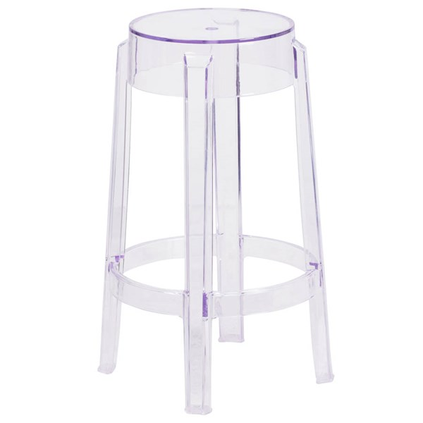 Flash Furniture Transparent Polycarbonate Rubber Counter Height Stool FLF-FH-118-APC1-GG