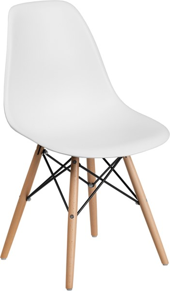 Flash Furniture Elon White Plastic Wood Chair FLF-FH-130-DPP-WH-GG