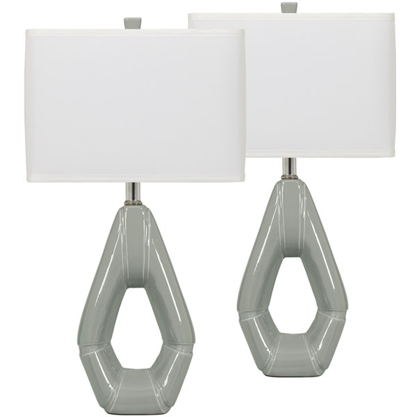 2 Gray Ceramic Fabric Metal Plastic Table Lamps FLF-FSD-LMP-25GY-GG