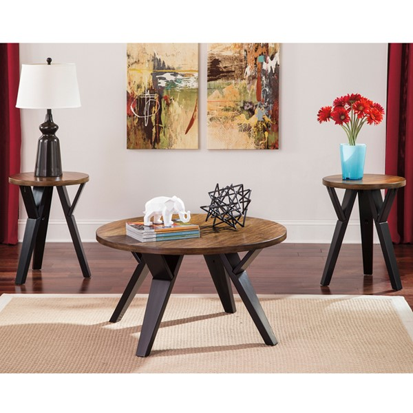 Flash Furniture Ingel Brown 3pc Coffee Table Set FLF-FSD-TS3-47TTB-GG