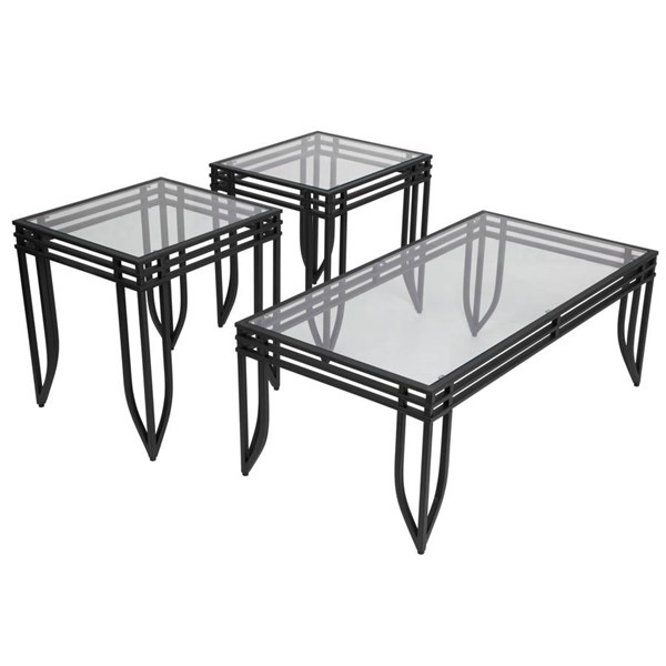 Flash Furniture Exeter Black 3pc Coffee Table Set FLF-FSD-TS3-52BB-GG