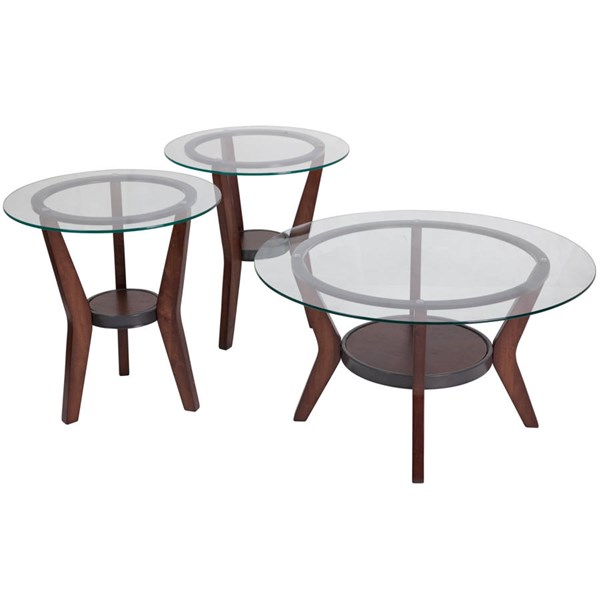 Flash Furniture Fantell Dark Brown 3pc Coffee Table Set FLF-FSD-TS3-61DB-GG