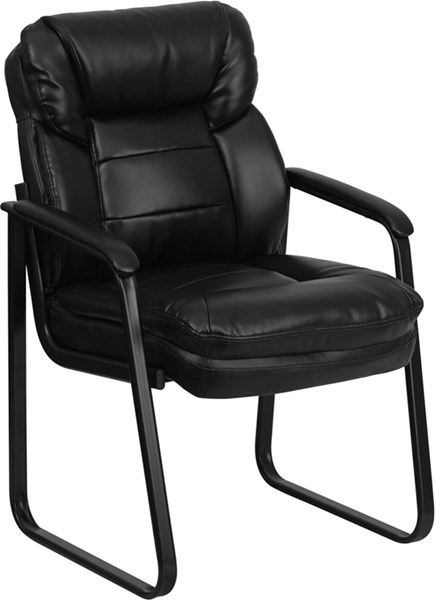 Flash Furniture Black Fabric Leather Executive Side Chair with Sled Base FLF-GO-1156-BK-LEA-GG