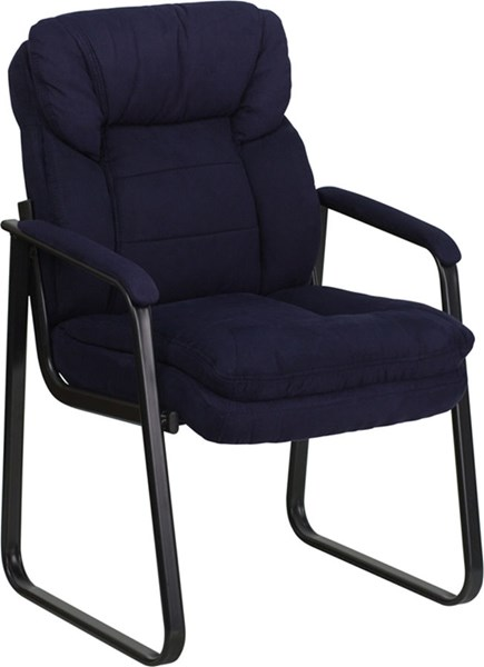 Flash Furniture Navy Microfiber Executive Side Chair with Sled Base FLF-GO-1156-NVY-GG