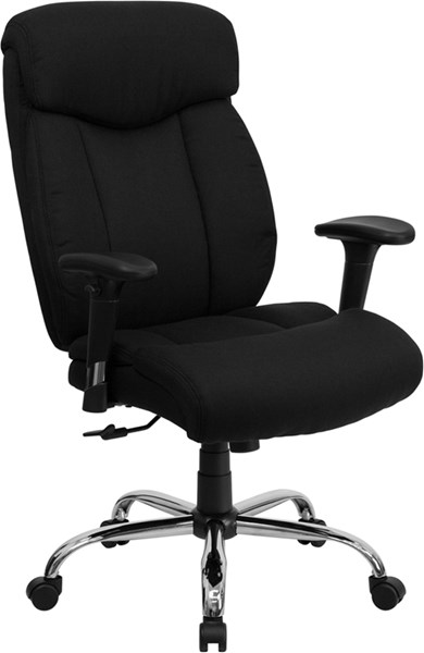Flash Furniture Hercules Big and Tall Black Fabric Office Chair with Arms FLF-GO-1235-BK-FAB-A-GG